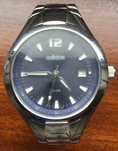 Adidas Stainless Steel Watch Mens, Blue Dial,10atm, Needs New Battery, VGC, DATE