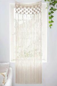 "Mkono Macrame Curtain Wall Hanging, Doorway Window Curtains Handwoven 29""W×80""L"