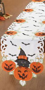 Halloween Pumpkins Cat Embroidered Table Runner Topper Jack o Lanterns Decor