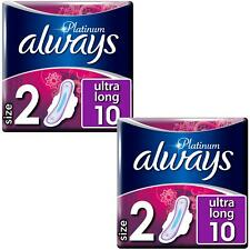 Always Platinum Pads Ultra Long Sanitary Towels with Wings - Size 2 - 20 Pack
