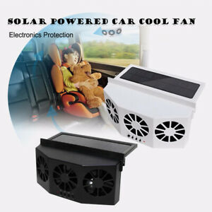 3 Fan Cooler Car Solar Powered Window Windshield Auto Air Vent Cooling 2.4V 4W