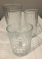 Vintage Pasabahce Clear Block Optic Windowpane Artisan Tumbler Glasses