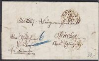 Württemberg Öhringen doppelt verw. Brief mit SG Öhringen 1857, innen K2 Eppingen
