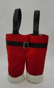 POTTERY BARN RED SANTA PANTS WINE BOTTLE BAG 🎅🍷🎅🍷