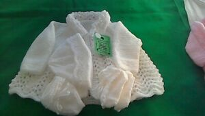 Hand-knitted  Baby's white   matinee coat set  size 0/3months