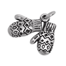 Sterling Silver Pair of Woolly Mittens Gloves Skiing Charm