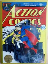 DC Action Comics Superman Tin Metal Sign Classic Embossed 10 cent Collectible D3
