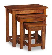 LIVING ROOM FURNITURE CUBE SHEESHAM NEST OF 3 TABLES (C33)