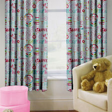 "Hello There Children's Kids Curtains 66"" by 54"" + Tiebacks Nursery Bedding Girls"