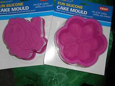 2 angolo CUCINA ROSA IN SILICONE Cake Stampi Fiore e DINOSAURO