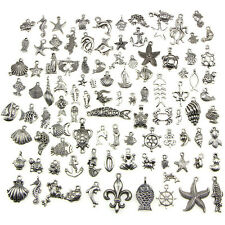 Retro Silver 100pcs BULK Lots Mix Ocean Charm Pendants Jewelry DIY Hot FO