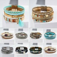 Multilayer Leather Tassel Wristband Bracelet Women Crystal Magnetic Clasp Bangle