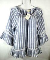 New Blue & White Lace Ticking Stripe Peasant Blouse Shirt Boho Top Size XL NWT