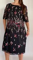NEW GRACE HILL Black Floral Embroidered Lace Midi Dress Plus Size AU 22 Party