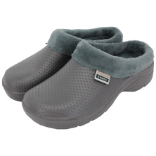 More details for town & country fleece lined slip on cloggies for warmth & comfort - grey, unisex