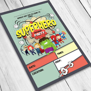SUPERHERO BIRTHDAY PARTY INVITATIONS INVITES CHILDREN BOYS KIDS SUPER HERO