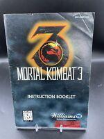 Mortal Kombat 3 Instruction Booklet Manual ONLY Super Nintendo SNES