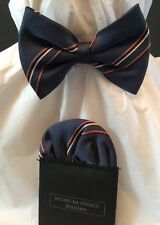 Boys Bow Tie And Faux Handkerchief Blue Striped Tan Red White  Adjustable Close