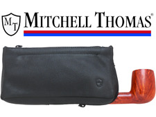 Mitchell Thomas Black Leather 2 Pocket Pipe Tobacco Pouch & Case