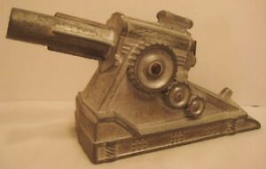 """Antique Metal Spring-Powered Cannon For Toy Soldiers 4 3/4"""" Barclay 1930s Works!"""