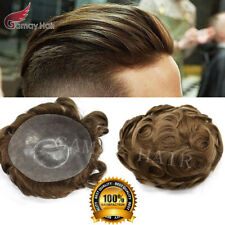 Full Poly PU Men Toupee Thin Skin Wigs Human Hair Replacement Hairpiece PAPY