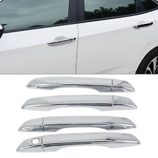 8x Exterior Chrome Plated Door Handle Cover Trim Fit For Honda Civic 2016 2017