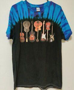 Tie Dye GUITAR Shirt  Unisex Vintage Gildan Size Large  7 Guitar Graphic EUC