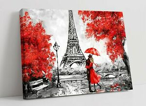 RED UMBRELLA PARIS ART -DEEP FRAMED CANVAS WALL ART PICTURE PAPER PRINT-