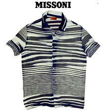 Missoni Men's Multi-Striped Navy Blue Slim Fit Knitted Cotton Rayon Polo Shirt