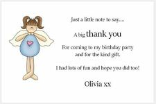 10 Personalised Thank You Cards - Birthday Party - Blue Angel with Heart
