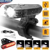 USB Rechargeable LED Bicycle Front Rear Light Headlight Bike Cycling Lamp Set US