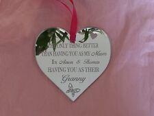 Custom Made Personalised Gran Granny Mirror Heart Gift Present Keepsake