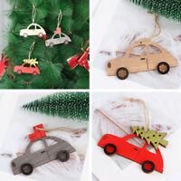 Wooden Xmas Gifts Xmas Tree Christmas Ornament Hanging Pendant Painted Car
