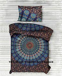 Indische Werfen Bettbezug Baumwolle Pfau Mandala Single Größe Hippie Kunst Boho