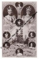 mm755-King George V  Mary & children Coronation souvenier montage-photograph 6x4