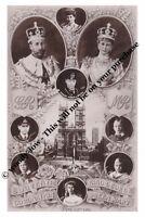 mm755-King George V  Mary & children Coronation souvenier montage-photograph 6x4