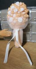 SIMBA Barbie Doll Bride Clothes Wedding DAY Flower BOUQUET- PEACH FLORAL TULLE
