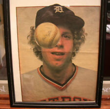 """Framed Mark """"The Bird"""" Fidrych autograph picture from Rolling Stone Magazine"""