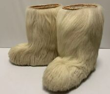 Vintage Saba Apollo Fur Boots White Blanco Goat Italy Warm Fleece Lining Sz 37 6