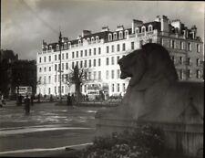 Magic Lantern slide - GEORGE SQUARE, Glasgow, Scotland. Stone Lion in foreground