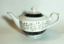 NEW GRACE'S TEAWARE WHITE+BLACK+METALLIC GOLD FLORAL TEA,COFFEE POT,TEAPOT