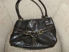 *NINE WEST* Faux Leather Dark Brown Zippered Handbag Purse