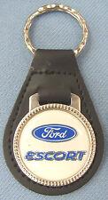 Vintage White Ford ESCORT Black Leather USA Keyring Key Fob 1968 1969 1970 1971