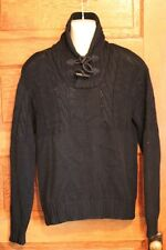Polo Ralph Lauren Mens Navy Blue Hand Knit Toggle Sweater L Large