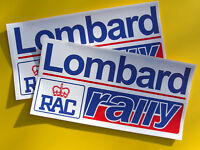 Lombard RAC Rally pair vintage style Decals Stickers small red/blue