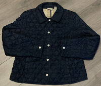 LL Bean Jacket Womens Small Blue Quilted Snap Up Lightweight Coat Collared Basic