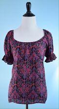 JOIE $298 Pink Purple Black Short Ruffle Sleeve Floral 100% Silk Top Size S