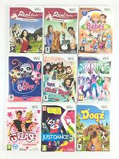 Lot 9 Jeu Wii Fille : Just Dance 3, Dogz, Bebe Party, Equitation, Vétérinaire...