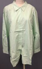 DENIM AND CO NWT Green White Stripe Cotton Collared Button Up Shirt Sz 1X EE6397