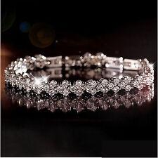 Silver Plated Diamante Link Crystal CZ/Crystal Bracelet/Bangle-Wedding/Occassion